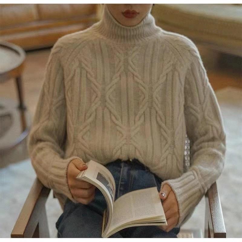 高领优雅毛衣